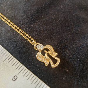 Angel Pendant Gold Necklace Crystals CZ Diamond